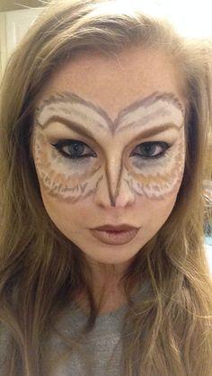Beauty Wonderland: My Costume is My Face! Feminine Owl Makeup Beauty Wonderland: My Costume is My Face! Owl Makeup, Animal Makeup, Owl Halloween Costumes, Halloween Face Makeup, Owl Costumes, Owl Costume Diy, Animal Costumes Diy, Fox Halloween, Crazy Costumes