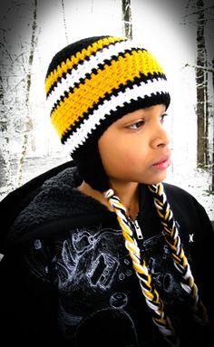 Steelers Beanie w/ Earflap- Crocheted - Made to Order - Photo Prop - Baby Crochet Hat - Crochet Earflap Beanie. $24.99, via Etsy.