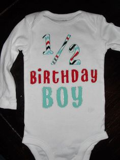 1 2 Birthday Boy Chevron Bodysuit With Name NB 24 Month Milestone 6 Months Half Celebration