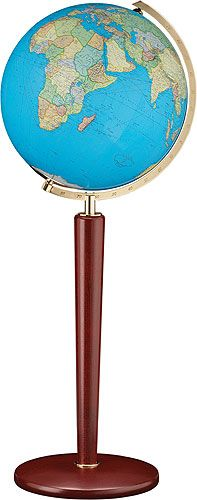 ZURICH Illuminated Glass World Globe with Wood Floor Stand (Free Shipping) This illuminated floor world globe features Duo™ cartography - when illuminated, the globe displays physical cartography, non-illuminated globe displays a political map