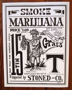 High-quality print of Rolly Crump's infamous Marijuana Doper Poster.   The poster is 13.5x17.25 and is printed on thick Matte Card paper. Each poster has been hand-signed by Rolly.  An alternate version of this poster was displayed in the Disney Studios Library in 1954, and was seen (and enjoyed)