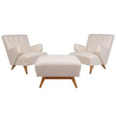 Pair of Early Easy Chairs and Ottoman by Jens Risom  $13,500  Collage on 1st dibs