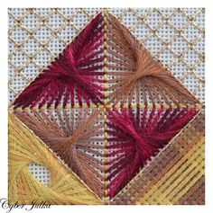 Needlepoint. Isn't that a magnificent stitch! is it some kind of variation on the Symrna? Mixed with surface darning and some cross-stitch variation, A whole lot to learn and love here.
