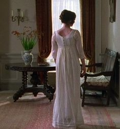 Elizabeth Bennet (played by Jennifer Ehle) in Pride and Prejudice - 1995 Period Movies, Period Dramas, Bbc, Jennifer Ehle, Jane Austen Movies, Mr Darcy, Regency Era, Movie Costumes, Period Costumes