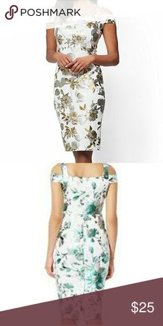 7TH AVENUE - COLD-SHOULDER SHEATH DRESS - FLORAL NWOT. Lovely dress for any special occasion/party. Dresses Midi