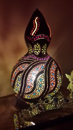 Authentic Gourd Lamp Handcrafted one of a by GourdLampCollection