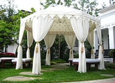Beautiful Majestic White Raj Tent - Find more Raj Tents and details here - www . Moroccan Tent, Luxury Tents, Rental Decorating, Tent Wedding, Indoor Outdoor Living, Backyard, Outdoor Structures, Modern, Beautiful