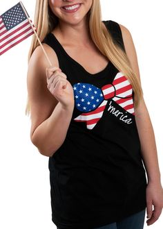 Get one of our All-Time Best Selling Tank Tops for the 4th of July! Shop our 'Merica Bow Tank Top Today for Delivery by the 4th of July!