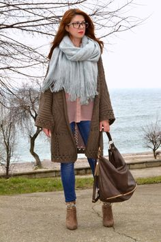 chunky knit cardigan, big scarf, nude chiffon shirt, suede boots, alinasays