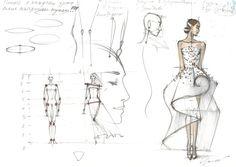 Fashion sketch by Olga Sorokina Drawing Fashion Illustration Illustrator Vogue Sketch Face Body Dress Wedding