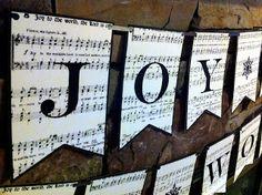Free Printable Joy to the World Christmas Banner.