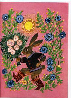 Yuri Vasnetsov.  Lady Rabbit is getting a bouquet. Lovely. AFS