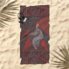 Red Horse, redhaired woman, magic night forest, folk art Beach Towel by…