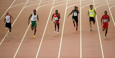(L-R) Ramil Guliyev of Turkey, Hua Wilfried Koffi of Cote d'Ivoire, Ahmed Ali of Sudan, Mohammed Abukhousa of Palestine, Liaqat Ali of Pakistan and Isiah Young of the United States compete in the Men's 200 metres heats during day four of the 15th IAAF World Athletics Championships Beijing 2015 at Beijing National Stadium on August 25, 2015 in Beijing, China.