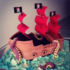 Pirate ship cake by Swee Choo Chan Pirate Birthday, Pirate Theme, 2nd Birthday Parties, Baby Birthday, Birthday Cakes, Birthday Ideas, Pirate Ship Cakes, Travel Cake, Cake Gallery