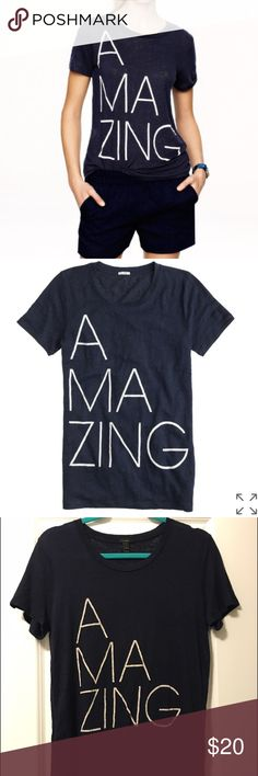 Linen Amazing Tee-Navy Cute tee. Great condition. 100% linen. Tag says Small but will fit a Medium. J. Crew Tops Tees - Short Sleeve