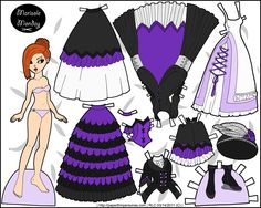 A redheaded fantasy paper doll for printing with several different dresses.