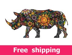 abstract african rhino wall sticker, texture rhino wall decal decor, colorful rhino wall sticker safari ethnic animal art elephant [FL049]