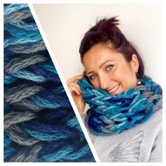 Wool Scarf Melange Blue Grey Infinity Scarf by CreativaStore