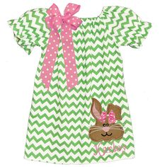 Monogrammed Lime Chevron Bunny Applique Peasant Dress