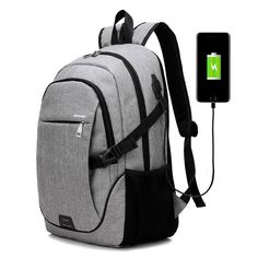 J Q Multifunctional Laptop Male style Backpack Schoolbag Computer Bag USB  rechargeable backpack travel backpack smart bag d1f46b7353aa3