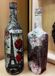 Decorative Bottles : Фотография -Read More – Glass Bottle Crafts, Wine Bottle Art, Diy Bottle, Glass Bottles, Recycled Wine Bottles, Painted Wine Bottles, Beer Bottle Centerpieces, Bottle Painting, Bottle Design