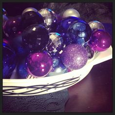 Happy holidays!!! Purple and blue  Christmas ornament in a vintage pyrex divided dish barbed wire pattern