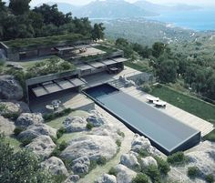 Terra Porra Villas by GS Studio Architects Palombaggi - Architecture and Home Decor - Bedroom - Bathroom - Kitchen And Living Room Interior Design Decorating Ideas - Architecture Magazines, Art And Architecture, Cantilever Architecture, Conception Villa, Mountain Villa, Ocean View Villas, Modern House Design, Building A House, Exterior