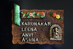 Designer & ethinic Name Plates Wooden Name Plates, Door Name Plates, Name Plates For Home, Plates On Wall, Clay Art Projects, Projects To Try, Name Plate Design, Home Wedding Decorations, Mural Art