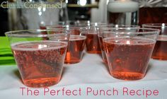The Best Punch Recipe Ever by Clarks Condensed (only two ingredients!) 2 liter ginger ale and 1 welch's frozen cranberry raspberry juice. Can freeze some ahead of time in a bag to add slush to the punch. Alcoholic Punch Recipes, Non Alcoholic Drinks, Drink Recipes, Cocktails, Fruit Drinks, Yummy Drinks, Beverages, Juice Drinks, Juice 2