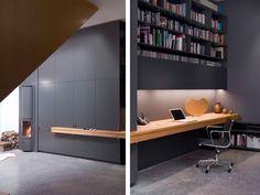 A clean sleek home office. The secret? Storage, storage, storage!!!