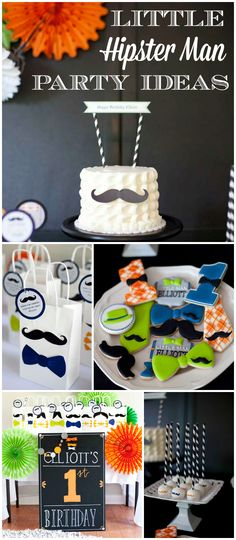 How fun is this modern little hipster man theme for a 1st birthday party! See more party ideas at CatchMyParty.com!