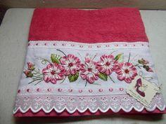 Artesanato Gata de Vison: toalha de banho bordada em fita