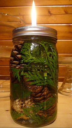 DIY Decorative Mason Jar Oil Lamp approx. cost $5 Maybe put that oil in it for…