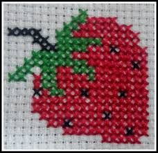Image result for strawberry hand cross stitch