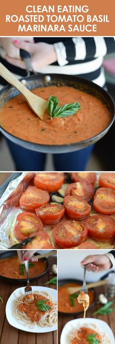 Roasted Tomato Basil Marinara! -  8-10 large tomatoes,  -2-3 tablespoons extra virgin olive oil,  -5 large basil leaves,  -6 cloves of garlic,  -salt (to taste)  -pepper (to taste)