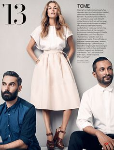 Aussie fashion brand Tome - Australian fashion designers Ramon Martin and Ryan Lobo with model Jessica Hart modeling an outfit