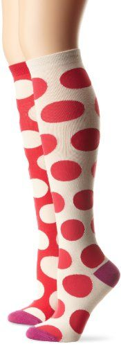 Ladies 9-11 Strawberry Jams Polka Pink 1 Pr BETSEY JOHNSON Knee High Socks