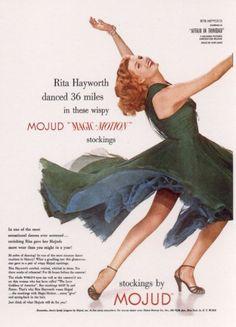 Rita Hayworth ad for Mojud Stockings