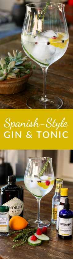 My favorite Spanish-style gin and tonic, made with Hendricks Gin, Fever-tree tonic water, lemon, cucumber, a raspberry and grapefruit and ginger bitters. Yum!