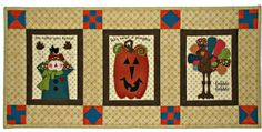 Autumn Quilted Wall Hanging, Autumn Quilted Table Runner, Rustic Halloween Thanksgiving Quilt, Quiltsy Handmade by VillageQuilts on Etsy