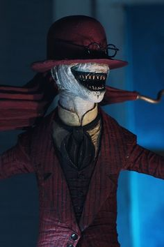 NECA Toys announced their upcoming The Conjuring Ultimate Crooked Man Scale Figure. The Crooked Man includes three interchangeable head sculpts, a removable hat, zoetrope toy and an Creepy Smile, Creepy Clown, Cute Couple Halloween Costumes, Halloween Kostüm, Halloween Makeup, Dark Fantasy Art, Fantasy Artwork, Horror Films, Horror Art