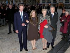 (L-R) Grand Duke Henri, Grand Duchess Maria Teresa of Luxembourg, Princess Marie Astrid, and Prince Carl Christian of Austria attend the Civil wedding in the City Hall of Nancy on 28 Dec 2012
