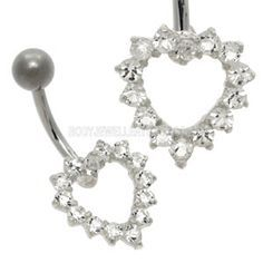 Buy now at www.bodyjewelleryshop.com - Open Crystal Heart Belly Bar - Clear. We have the largest variety of bananabells you'll find! #bananabell #piercings #bodyjewellery @piercedfashion
