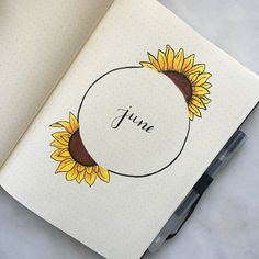 sunflowers for june bullet journal theme