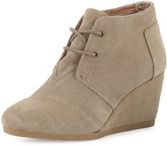 CLICK TO SHOP FOR MORE AMAZING DEALS! TOMS Suede Desert Wedge Bootie, Natural Taupe