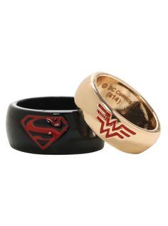 His 10 Hers 9 Large DC Comics Wonder Woman Superman Wedding Ring Band Gift Set