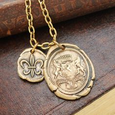 """Wax Seal Armorial Necklace SUSTINE ET ABSTINE - """"Hold On and Hold Off"""" - Fleur De Lis - on Etsy, $95.00"""