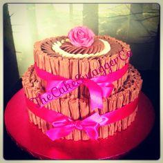 Chocolate fudge two tier flake cake