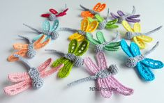 Crochet dragonfly Set of 5 Crochet applique by MioLBoutique, $12.00